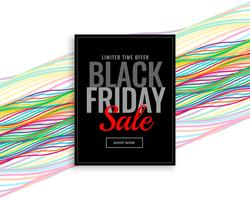 modern black friday sale banner with colorful wavy lines