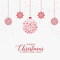 schöne weiße Karte der frohen Weihnachten mit roten Schneeflockenkugeln