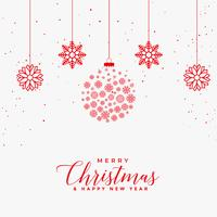 lovely merry christmas white card with red snowflakes balls
