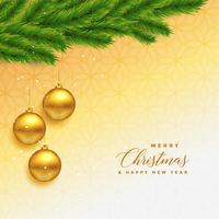 Hermosa feliz Navidad saludo con hojas y bola de oro