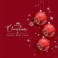 Fondo hermoso del saludo rojo de los copos de nieve de las bolas de la Navidad