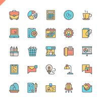 Flat line office icons set
