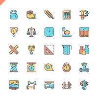 Flat line measuring, measure elements icons set for website and mobile site and apps. Outline icons design. 48x48 Pixel Perfect. Linear pictogram pack. Vector illustration.