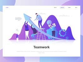 Trabajo en equipo moderno concepto de diseño plano. Plantilla de página de aterrizaje. Conceptos de ilustración de vector plano moderno para página web, sitio web y sitio web móvil. Fácil de editar y personalizar.