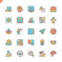 Flat line startup elements icon set