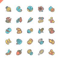 Flat line nuts, seeds and beans elements icons set for website and mobile site and apps. Outline icons design. 48x48 Pixel Perfect. Linear pictogram pack. Vector illustration.