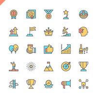 Flat line sussess, awards, prestatie-elementen pictogrammen instellen voor website en mobiele site en apps. Overzicht iconen ontwerp. 48x48 Pixel Perfect. Lineair pictogrampakket. Vector illustratie.