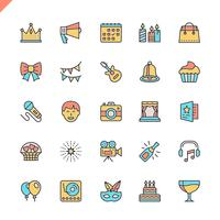 Flat line party, Birthday, celebration elements icons set for website and mobile site and apps. Outline icons design. 48x48 Pixel Perfect. Linear pictogram pack. Vector illustration.