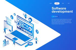 Software development modern flat isometric concept vector