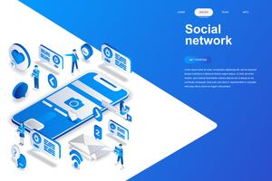 Concepto isométrico moderno diseño plano de red social. Comunicación y concepto de personas. Plantilla de página de aterrizaje. Ilustración vectorial isométrica conceptual para web y diseño gráfico.