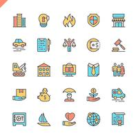 Ícones de seguros de linha plana definida para site e site móvel e apps. Design de ícones de contorno. 48x48 Pixel Perfeito. Pacote de pictograma linear. Ilustração vetorial.