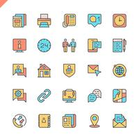 Flat line contact us icons set