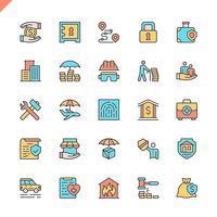 Os ícones dos elementos do seguro da linha lisa ajustaram-se para o Web site e local móvel e apps. Design de ícones de contorno. 48x48 Pixel Perfeito. Pacote de pictograma linear. Ilustração vetorial.