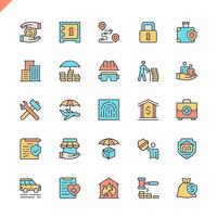 Flat line insurance elements icons set for website and mobile site and apps. Outline icons design. 48x48 Pixel Perfect. Linear pictogram pack. Vector illustration.