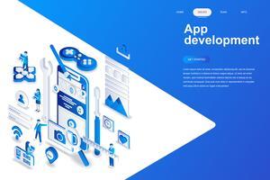 Aplicación de desarrollo moderno concepto de diseño plano isométrico. Smartphone y concepto de la gente. Plantilla de página de aterrizaje. Ilustración vectorial isométrica conceptual para web y diseño gráfico.