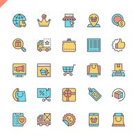 Línea plana de iconos de comercio electrónico, compras en línea y elementos de entrega establecidos para el sitio web, el sitio móvil y las aplicaciones. Esquema de los iconos de diseño. 48x48 Pixel Perfect. Pack de pictogramas lineales. Ilustracion vecto