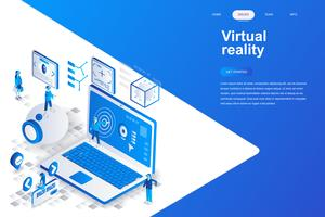Virtual augmented reality glasses modern flat design isometric concept. Entertaining and people concept. Landing page template. Conceptual isometric vector illustration for web and graphic design.
