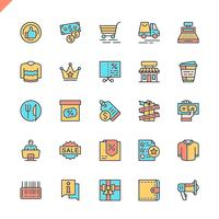 Platte lijn winkelcentra, retail pictogrammen instellen voor website en mobiele site en apps. Overzicht iconen ontwerp. 48x48 Pixel Perfect. Lineair pictogrampakket. Vector illustratie.