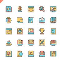 Flat line e-learning, online education elements icons set for website and mobile site and apps. Outline icons design. 48x48 Pixel Perfect. Linear pictogram pack. Vector illustration.