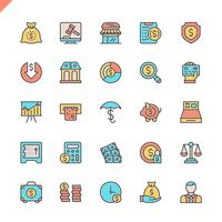Flat line money, finance, payments elements icons set