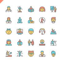 Flat line people icons set