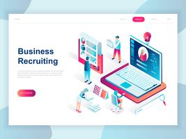 Modern flat design isometric concept of Business Recruiting for banner and website. Isometric landing page template. Employer, businessman resources, hr job presentation. Vector illustration.