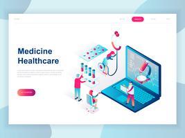 Concepto isométrico de diseño plano moderno de medicina en línea y cuidado de la salud para banner y sitio web. Plantilla de página de aterrizaje isométrica. Doctores que tratan al paciente. Ilustracion vectorial