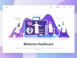 Medicina y cuidado de la salud moderno concepto de diseño plano. Plantilla de página de aterrizaje. Conceptos de ilustración de vector plano moderno para página web, sitio web y sitio web móvil. Fácil de editar y personalizar.