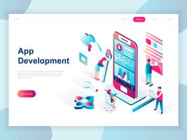 Moderne platte ontwerp isometrische concept van app-ontwikkeling voor banner en website. Isometrische sjabloon voor bestemmingspagina's. Ontwikkelen van het programmeren van een nieuw project met behulp van een mobiele applicatie. Vector illustratie.