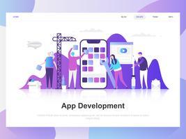 Modernes flaches Designkonzept der App-Entwicklung. Zielseitenvorlage. Moderne flache Vektorillustrationskonzepte für Webseite, Website und bewegliche Website. Einfach zu bearbeiten und anzupassen.