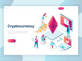 Modern flat design isometric concept of Cryptocurrency Exchange for banner and website. Isometric landing page template. Farm for mining digital money and trading currency. Vector illustration.