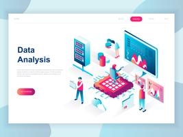 Concepto isométrico de diseño plano moderno de Big Data Analysis para banner y sitio web. Plantilla de página de aterrizaje isométrica. Carta de información digital y estadística financiera del presupuesto. Ilustracion vectorial