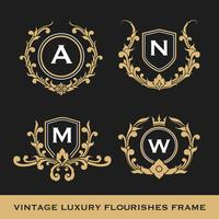 Set of Vintage Luxury Monogram Frame Template Design