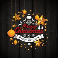 Christmas and Happy New Year illustration with typography