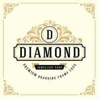 Plantilla de logotipo de monograma de lujo vintage