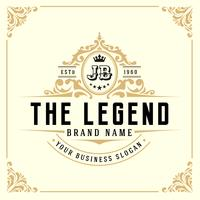 Modelo de logotipo de luxo vintage monograma