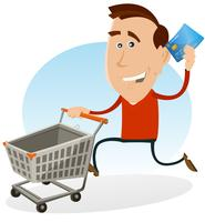 Happy Man Shopping With Credit Card