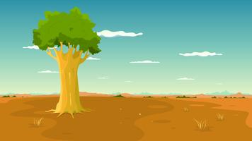 Tree Inside Wide Plain Landscape vector