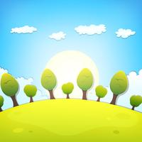 Lente of zomer Cartoon landschap