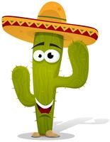 Cartoon Mexican Cactus Character