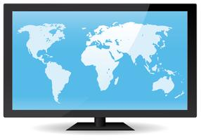 World Map On Flat Screen vector