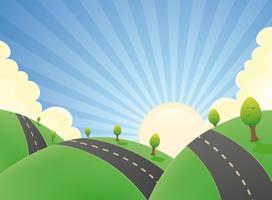 Paisaje de dibujos animados por carretera en el verano