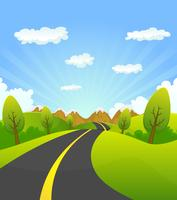 Lente of zomer weg naar de berg