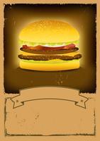 Bandera de comida rápida de hamburguesa de grunge