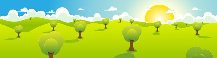 Cartoon Spring Or Summer Landscape Header