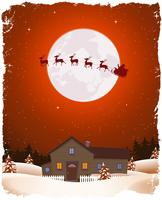 Christmas Red Landscape And Flying Santa