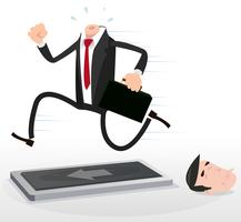 Cartoon Headless Businessman Running On A Treadmill vector