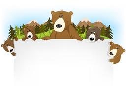 Cute Bear Family Background vector