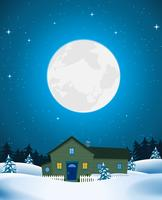 House In Winter Landscape vector