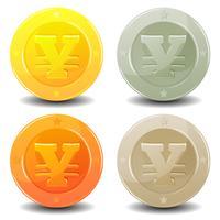 conjunto de moedas de ienes
